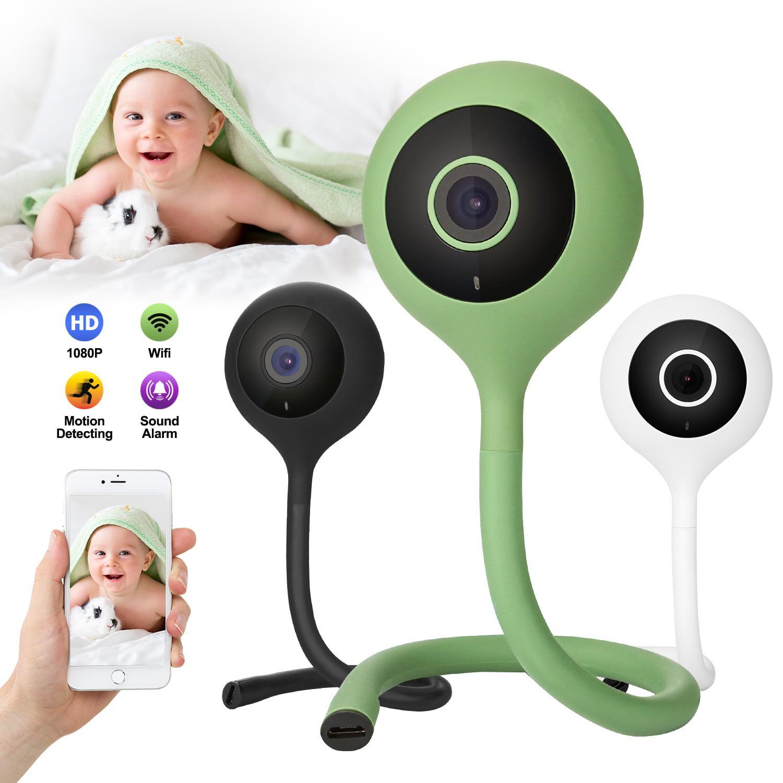 Wifi Baby Temperature Monitor 2 Way Audio IR Night Camera Music Player (Lollipop), color White