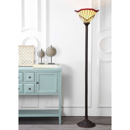 """Smith Tiffany-Style 70.5"""" Torchiere LED Floor Lamp, Bronze"""