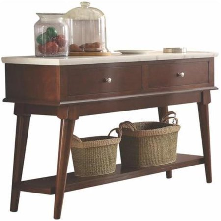 Benzara Two Drawers Wooden Server with Marble Top, White and  Walnut Brown