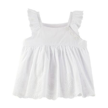 Baby Scallop (OshKosh B'gosh Baby Girls' Scalloped Eyelet Babydoll Top, White, 9)