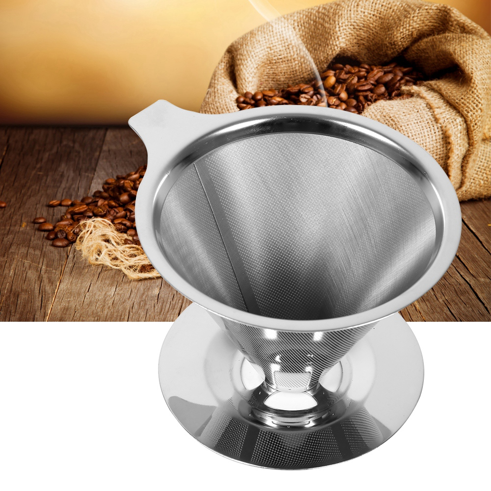 Tbest 1Pc Stainless Steel Pour Over Coffee Dripper Double Layer Mesh Filter Cup Stand Home Office Use, Mesh Filter Cup,Coffee Filter Cup