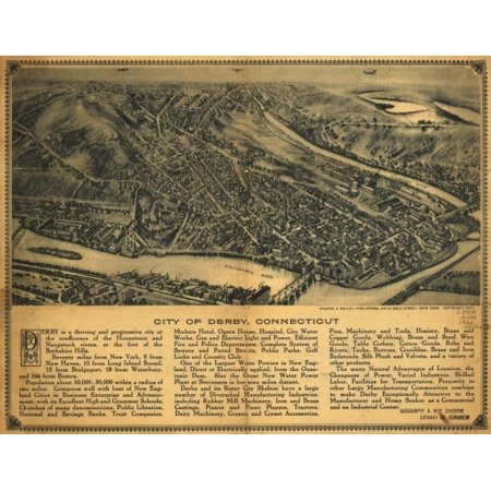 Vintage Map of Derby Connecticut 1920 New Haven County Canvas Art -  (36 x 54)