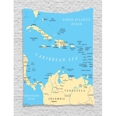 Wanderlust Decor Wall Hanging Tapestry, Caribbean Political Map Capitals National Borders Important Cities Rivers Lakes, Bedroom Living Room Dorm Accessories, By Ambesonne - Caribbean Decor