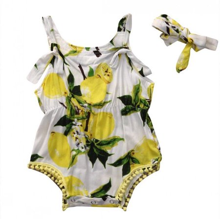 Newborn Kids Baby Girls Lemon Floral Print Romper Jumpsuit with Headband - Lemon Heads