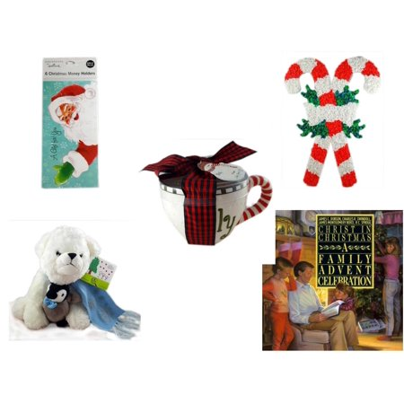 Christmas Fun Gift Bundle [5 Piece] - Hallmark Expressions 6  Money Holders - Vintage 1960's Kage Co. Melted Popcorn Candy Cane - Lady Jane Ltd.  Latte Gift Mug - Bearington White  Bear & Penguin Fr for $<!---->