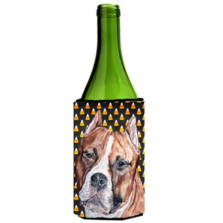 Staffordshire Bull Terrier Staffie Candy Corn Halloween Wine Bottle Beverage Insulator Hugger SC9656LITERK