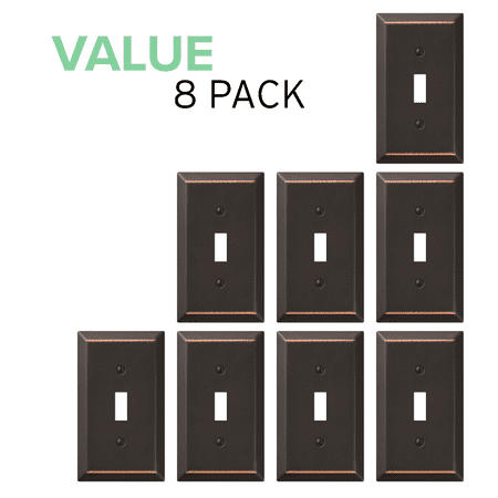 Value 8-Pack Toggle Light Switch Wall Plate Decorative, Oil Rubbed Bronze ()