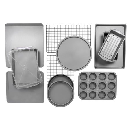 BakerEze 12-Piece Bakeware Set, Muffin Cookie & Pizza Pans (Halloween Pizza Cookie)