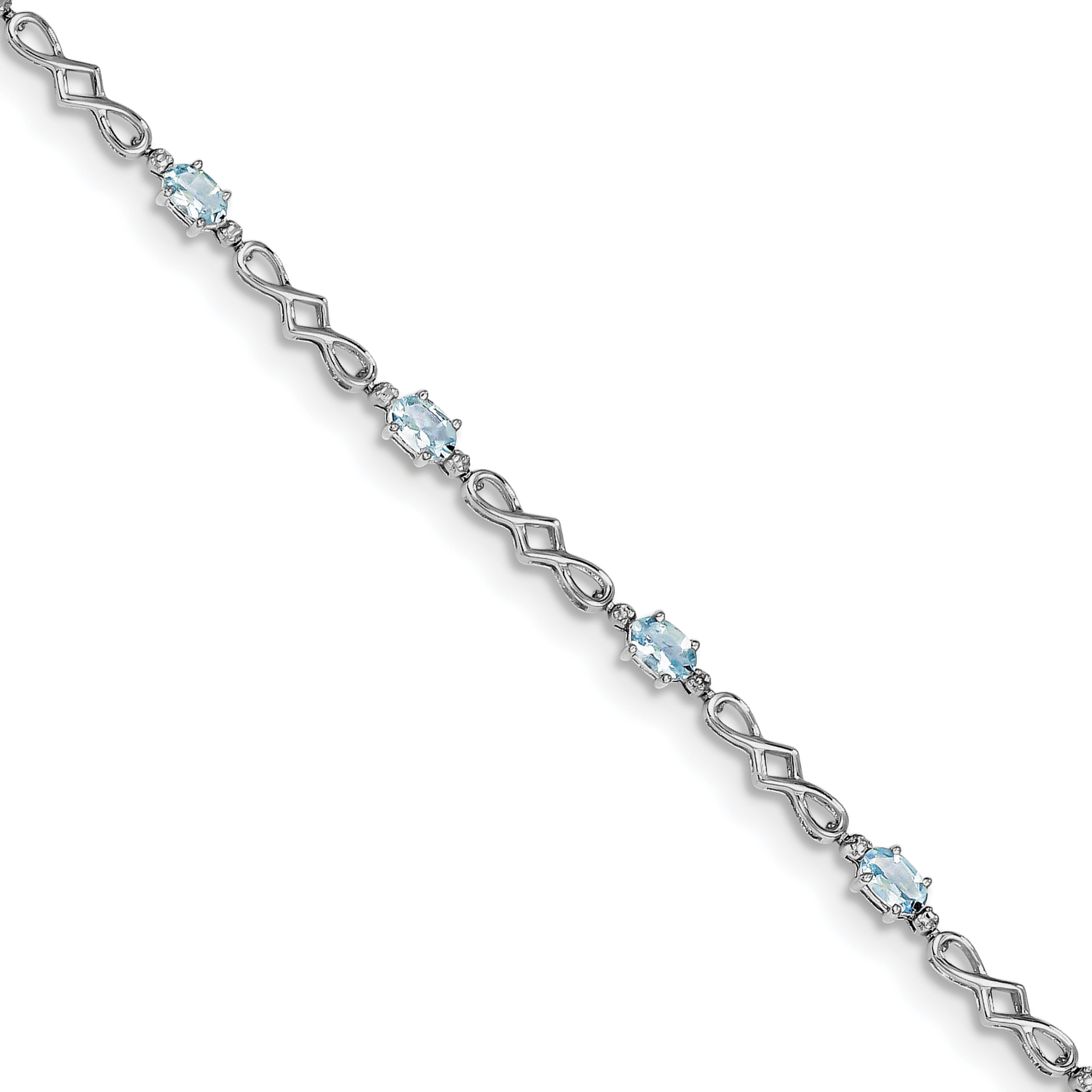 925 Sterling Silver Rhodium-plated Aquamarine and Diamond Bracelet by