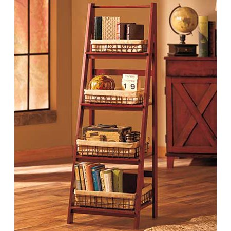 Cnlinkco Stylish Room Walnut Wooden Leaning Ladder Shelf - Wal Walnut Drawing Room