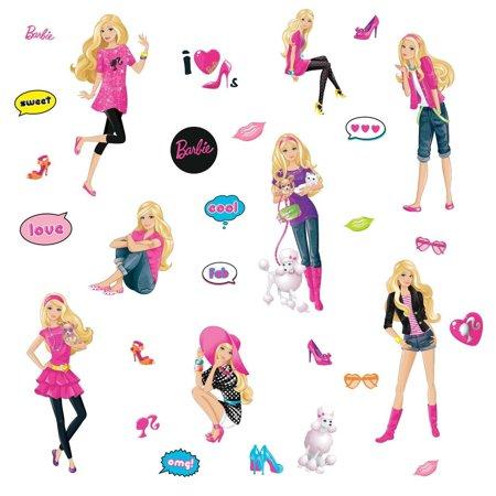 Barbie peel stick wall decals walmartcom for Beautiful barbie wall decals