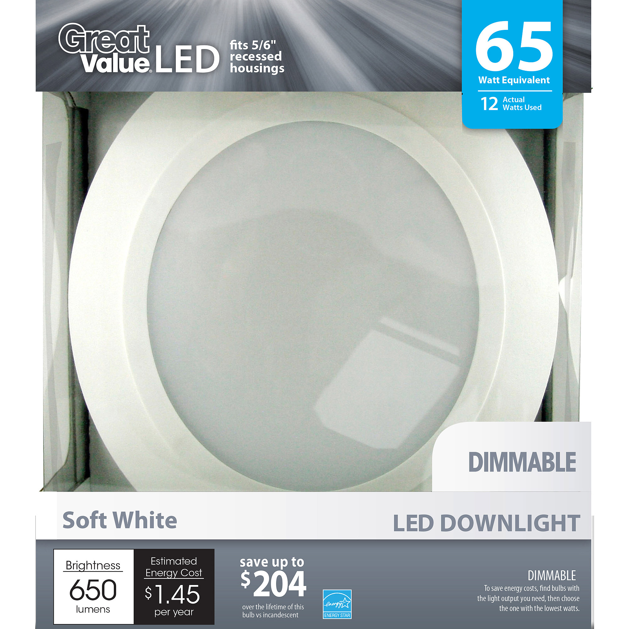 Great Value LED Light Bulb 12W (65W Equivalent) Downlight (E26) Dimmable, Soft White