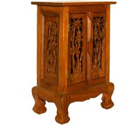 AsiaEXP Handcarved Acacia Wood Storage Cabinet/Nightstand, Intricate Palm Tree Design