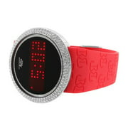 Red Silicone Band Watch Touch Screen LED Round Lab Created Cubic Zirconia Bezel Water Proof Men