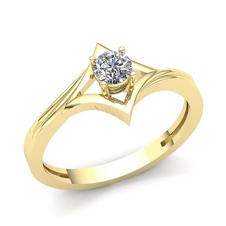 Genuine 0.4ct Round Cut Diamond Ladies Bridal Solitaire Anniversary Engagement Ring Solid 14K Rose, White or Yellow Gold GH (Genuine Diamond Anniversary Ring)