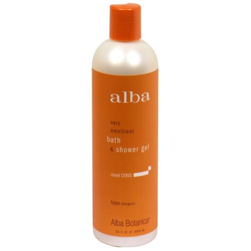 Alba Botanica Very Emollient Bath and Shower Gel, Island Citrus, 12 Fl Oz
