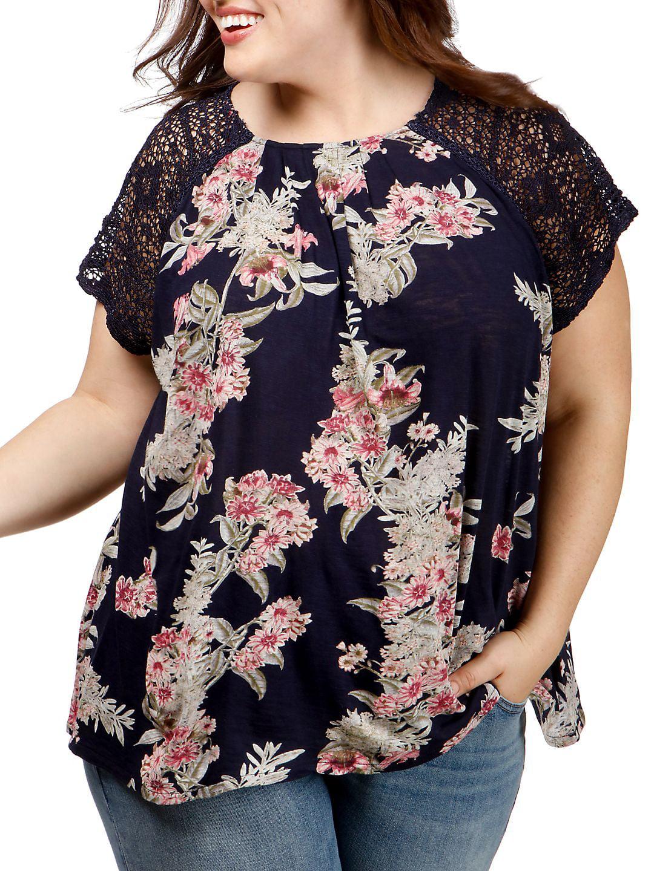 Plus Floral-Print Lace Short-Sleeve Top