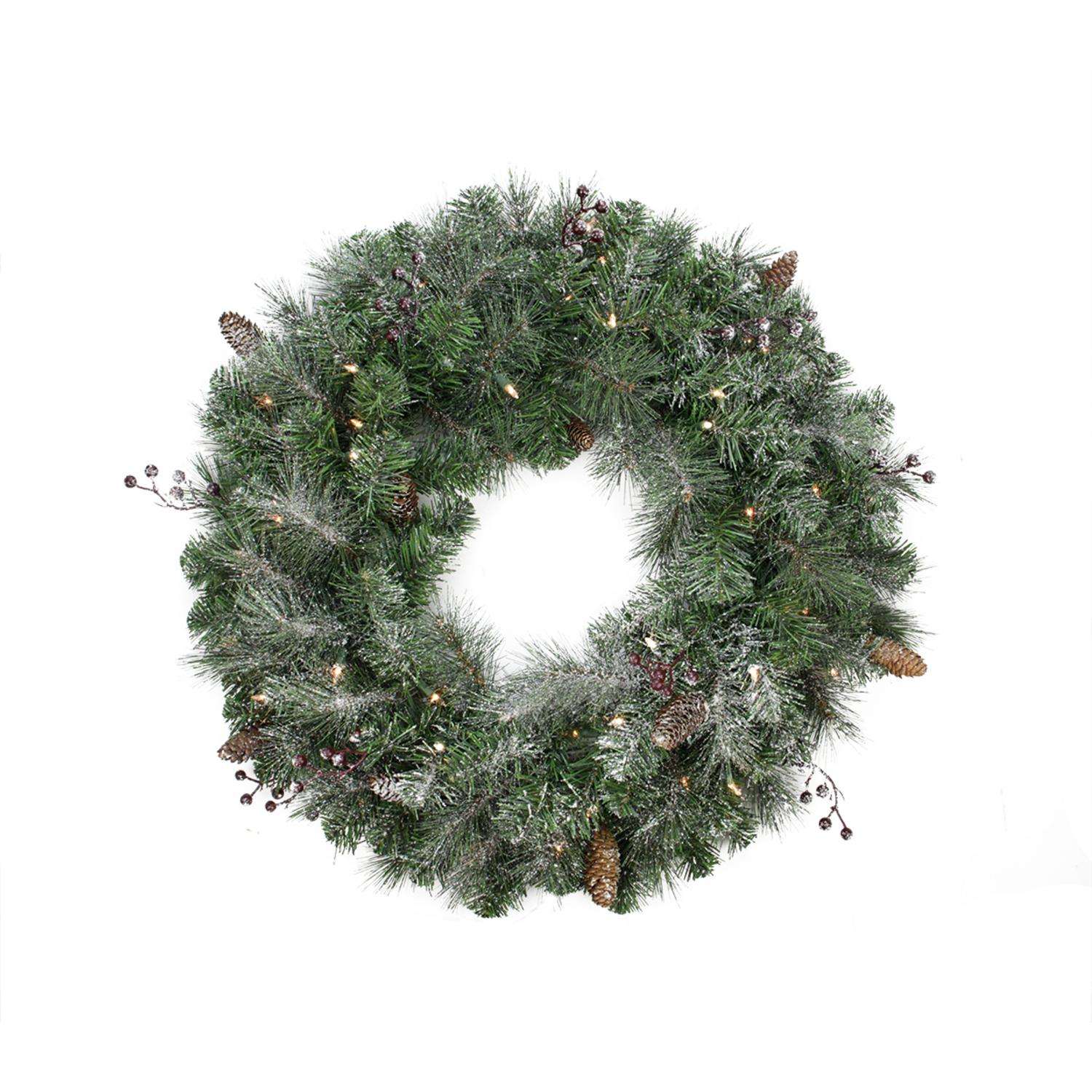 "Northlight 30"" Prelit Frosted Arctic Mist Pine Artificial Christmas Wreath - Clear Lights"