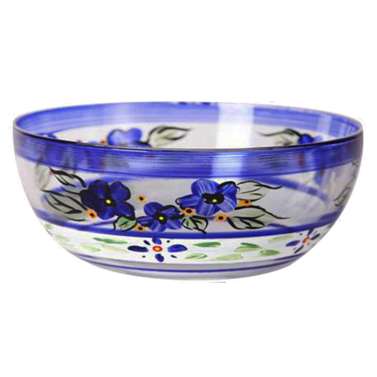 """Blue Floral with Blue and White Stripes Hand Painted Glass Serving Bowl 11"""" by Crafted Creations"""