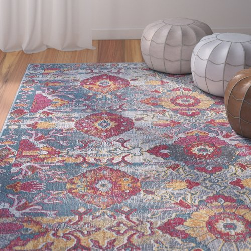 Bungalow Rose Dominick Modern Floral Gray Area Rug