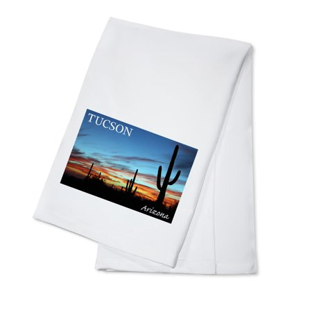 Tucson, Arizona - Cactus Silhouettes - Lantern Press Photography (100% Cotton Kitchen (Towson Single Handle Kitchen)
