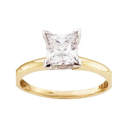 14kt Yellow Gold Womens Princess Diamond Solitaire Bridal Wedding Engagement Ring 1/6 Cttw Diamond Fine Jewelry Ideal Gifts For Womens Gift Set From Heart (Diamond Jewelry Rings)