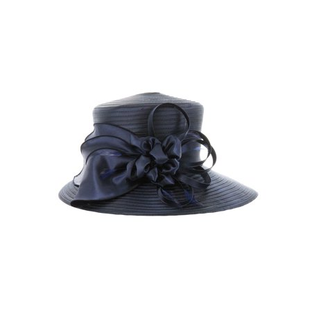 ChicHeadwear Medium Oval Brim Satin Braid Hat w/ Bow - Navy - image 1 de 1