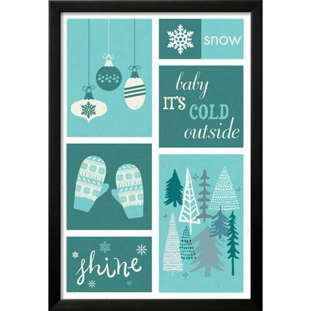christmas blue snow checkerboard framed art print wall art by