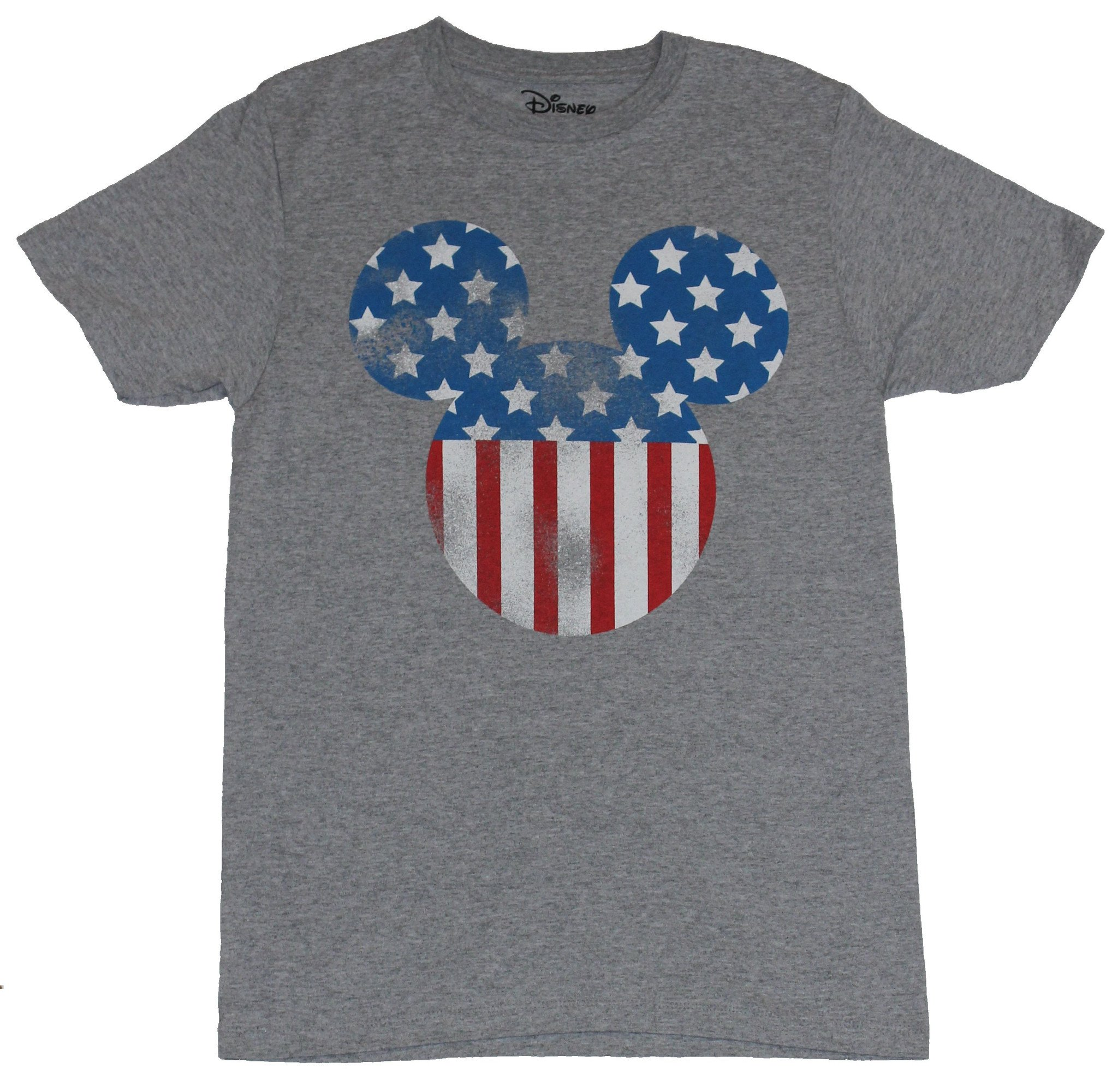 Mickey Mouse Mens T-Shirt -  Distressed Mickey Mouse American Flag style