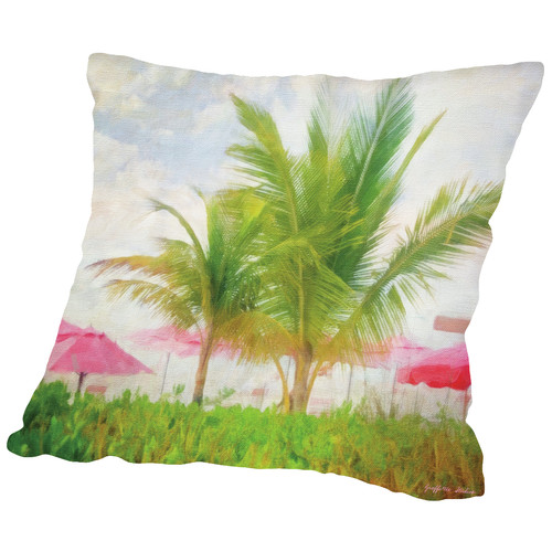 Americanflat Palms and Pink Throw Pillow