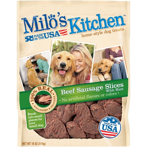 Milo's Kitchen Home-Style Beef Sausage Slices with Rice Dog Treats, 18 oz by Del Monte Pet Products