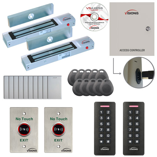Visionis FPC-7278 2 Door Access Control for Out Swing Door 300lbs Maglock Time Attendance TCP/IP RS485 Wiegand Controller Box, Black Waterproof Card and Keypad Reader, Software Included, 10000 Users