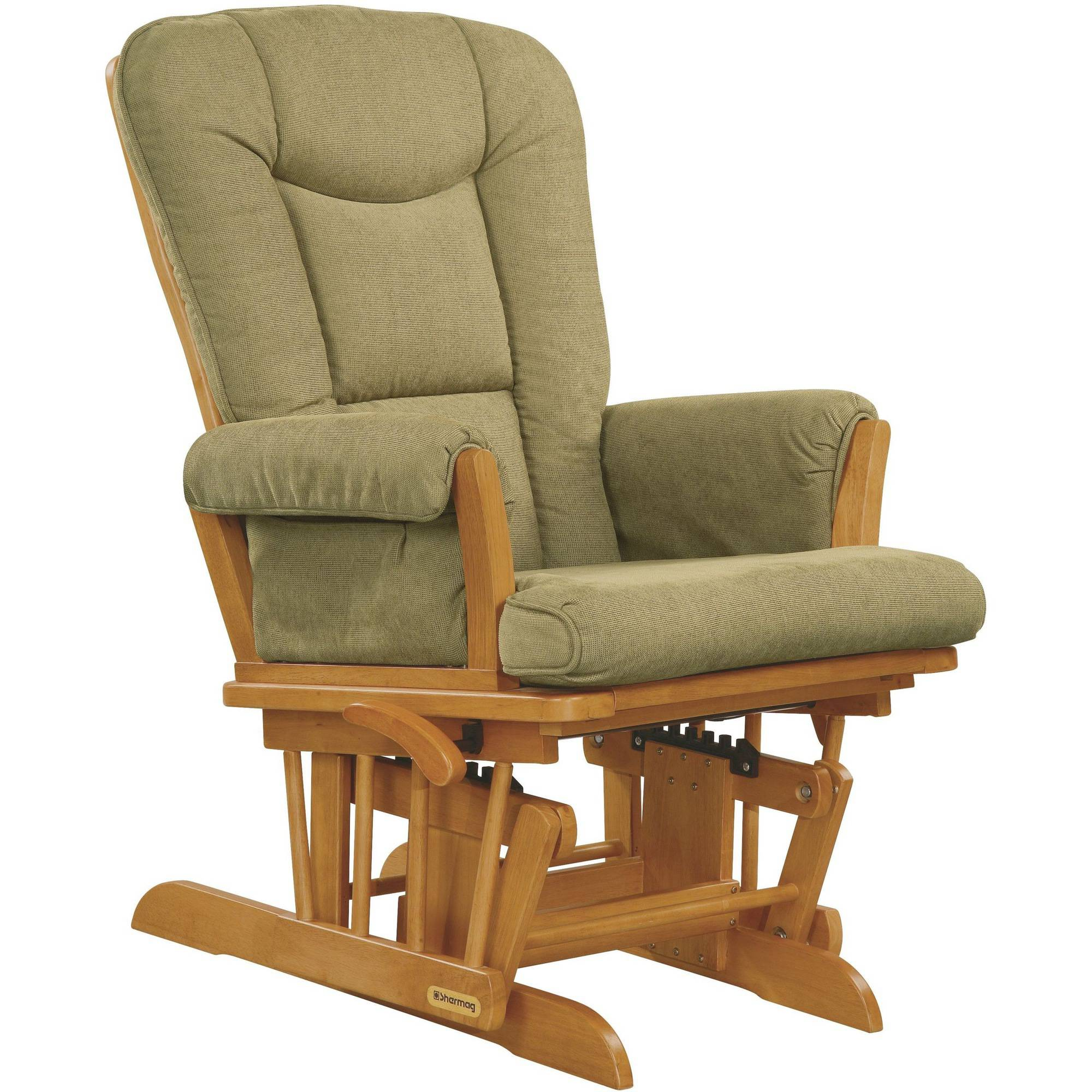 Shermag Glider Rocker with Honey Finish and Wheat Cushion