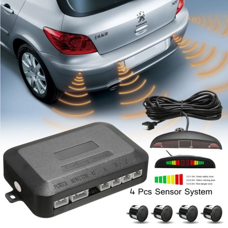 4 Parking Sensors LED Car Auto Backup Reverse Rear Radar System Sound Alarm