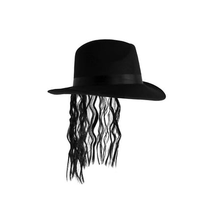 Adult Mens Pop Star King Of Pop Hat With Black Hair Halloween Costume Accessory - Crazy Hair Ideas For Halloween