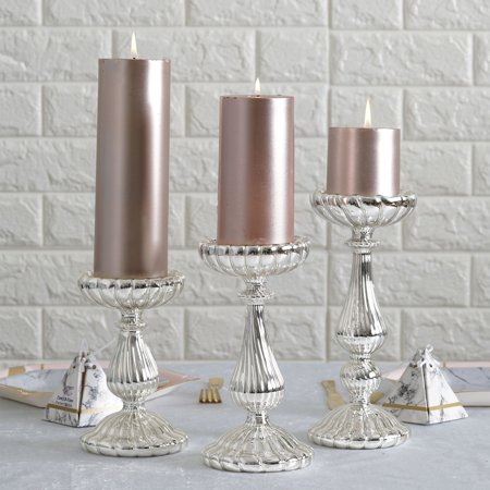 Efavormart Set of 3 Mercury Glass Pillar Candle Holders - 7