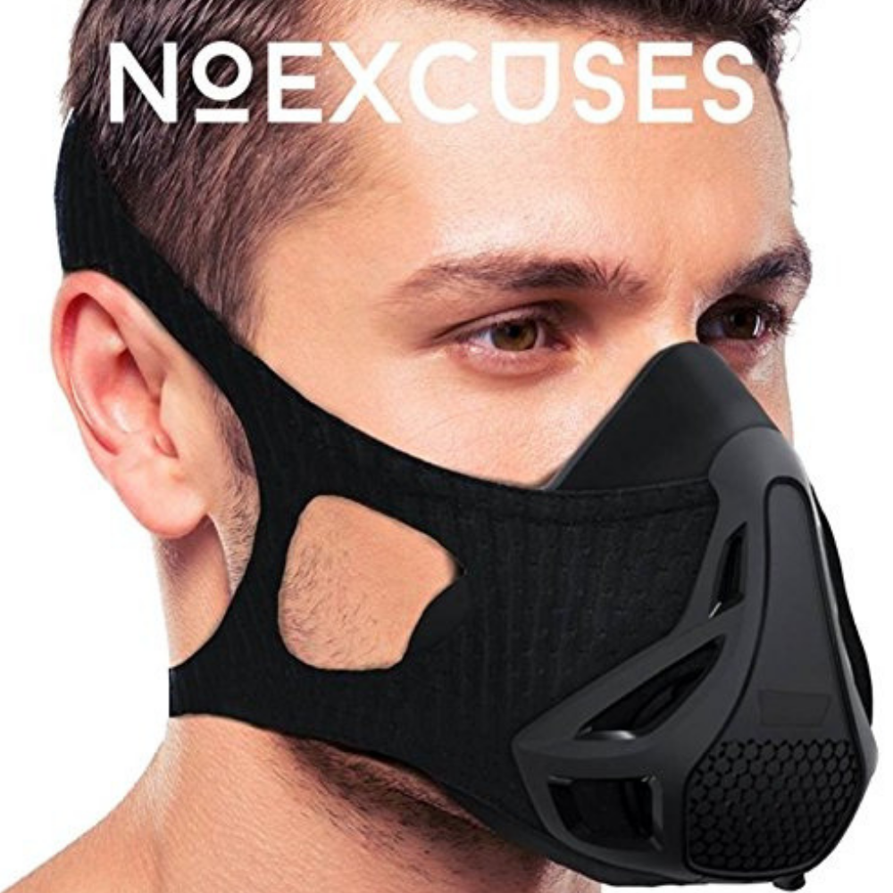 NOEXCUSES Exercise Workout Mask 3.0 [Plus Carrying Case] - High Altitude Elevation Simulation - for Gym, Cardio, Fitness, Running, Endurance and HIIT Training [4 Easy HQ Breathing Levels]