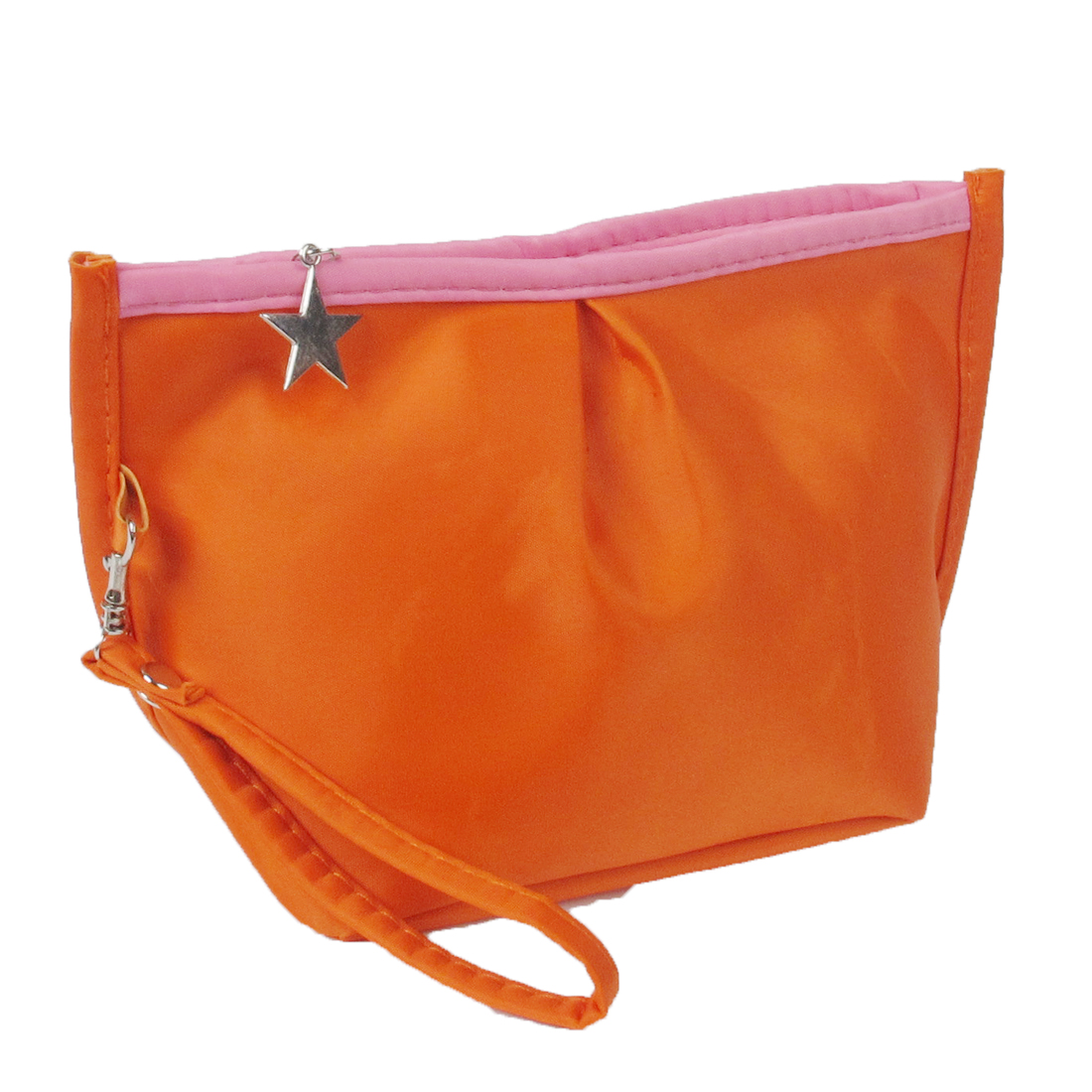 Metallic Star Shape Zip Wallet Purse Bag Coins Cash Holder Orange for Woman