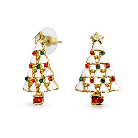 Christmas Tree White Enamel Red Green Crystal Post Friction Back Stud Drop Earrings For Women Gold Plated Alloy Crystal Drop Post Earrings