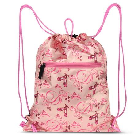 Lightweight Fashion Ballerina Print Drawstring Closure Sling Bag by Zodaca Gym Sack for Sports Hiking Walking - Sack Racing Bags