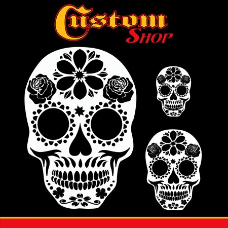 Custom Shop Airbrush Sugar Skull Day Of The Dead Stencil Set (Skull Design #14 in 3 Scale Sizes) - Laser Cut Reusable