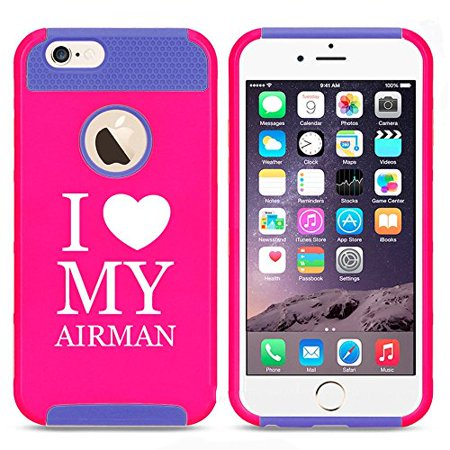Apple iPhone 5 5s Shockproof Impact Hard Case Cover I Heart Love My Airman Air Force (Hot Pink-Blue),MIP