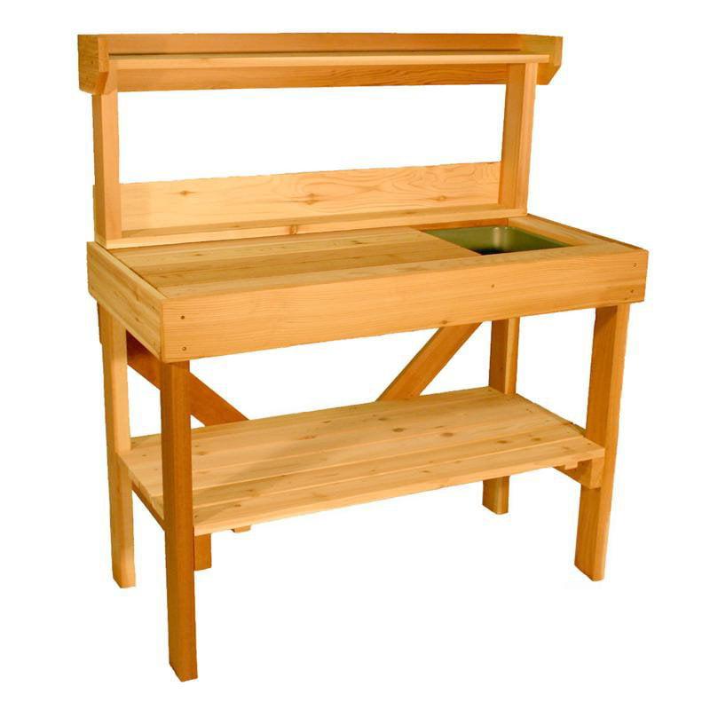 Cedar Wood Potting Bench with Sink