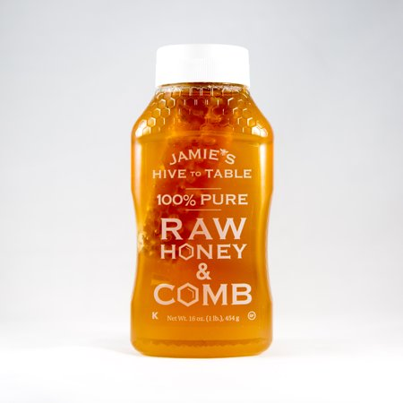 Jamie's Hive to Table 100% PURE Raw Honey & Honey Comb, 100% Natural, Nature Made Honey with No Fillers, 16 Oz.