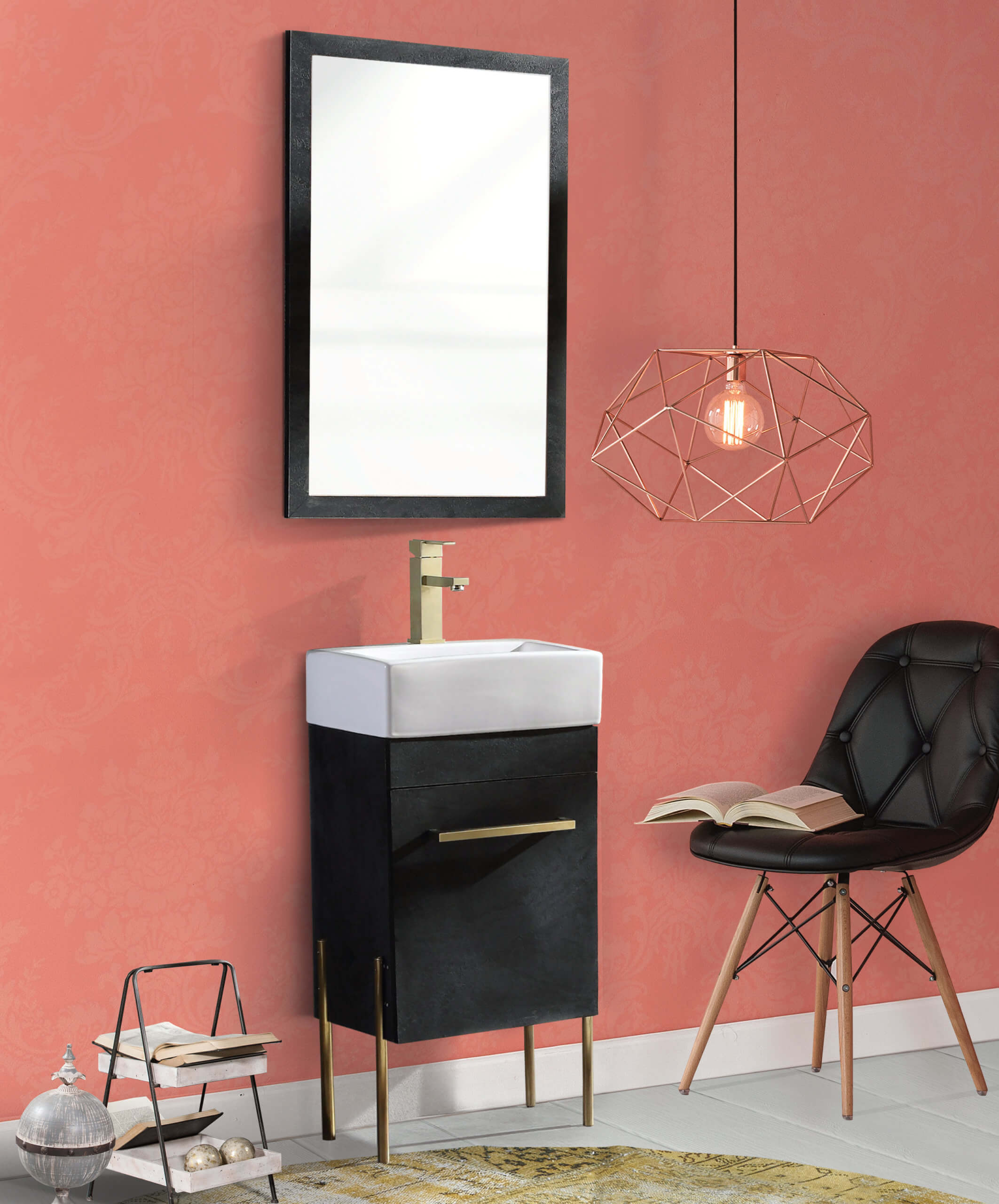 Fine Fixtures Modern Black Marble 18 Bathroom Vanity Set Satin Brass Hardware Vitreous China Sink Top Walmart Com Walmart Com