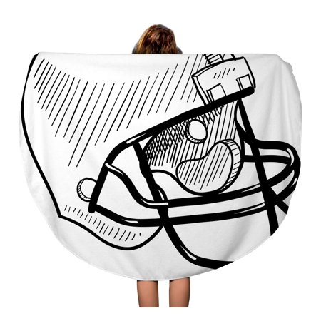 SIDONKU 60 inch Round Beach Towel Blanket Sketch Doodle Football Helmet Sports Equipment in Drawing Concussion Travel Circle Circular Towels Mat Tapestry Beach