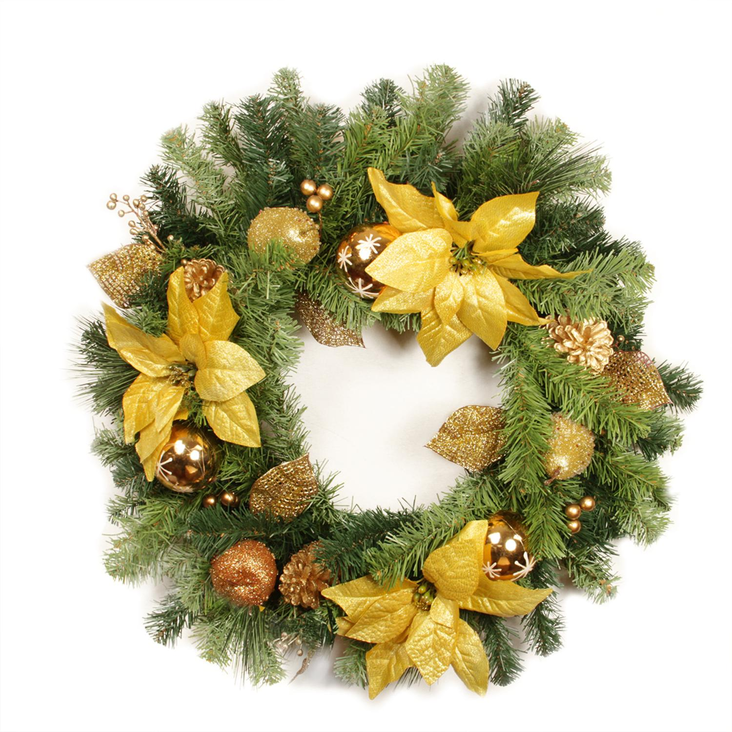 """24"""" Pre-Decorated Gold Poinsettia, Apple and Berry Artificial Christmas Wreath - Unlit"""