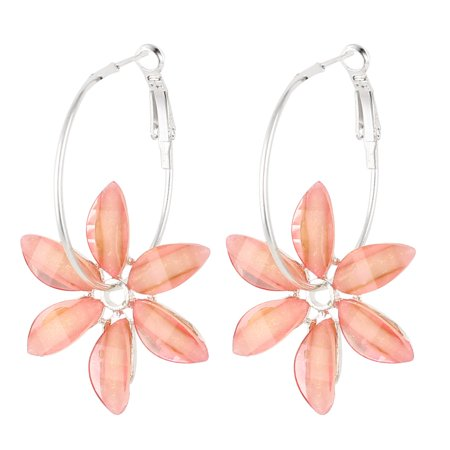 Unique Bargains Pair Pink Floral Shaped Dangling Pendant French Clip Earrings Eardrop for (Pink Floral Earrings)