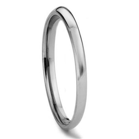 Tungsten Carbide 2MM Plain Dome Wedding Band Ring Sz 7.0