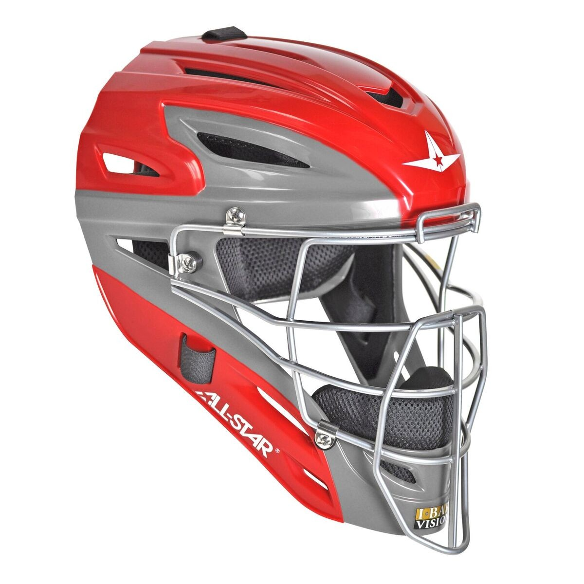 All Star Youth MVP2510GTT Graphite Two Tone Catchers Helmet Scarlet